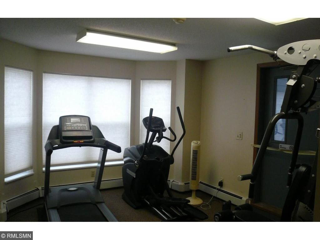 Exercise room is to the north of the community room.