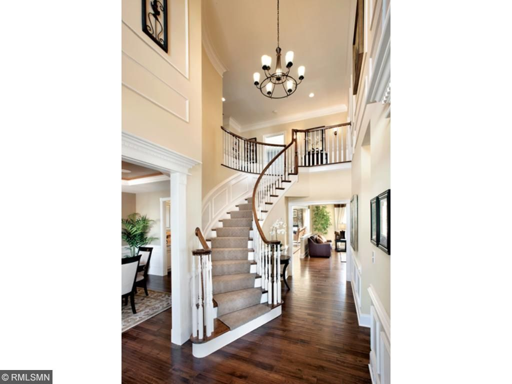 The curved staircase in the Stansbury floor plan