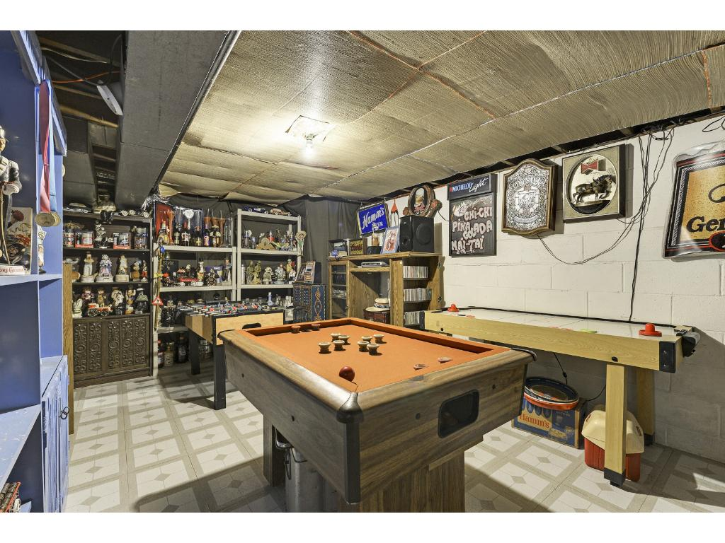Basement area provides nice space for a game room.