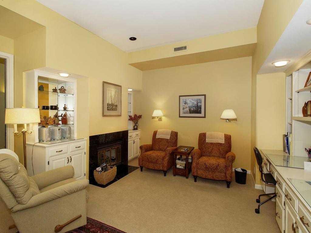 The gas fireplace compliments the family room.