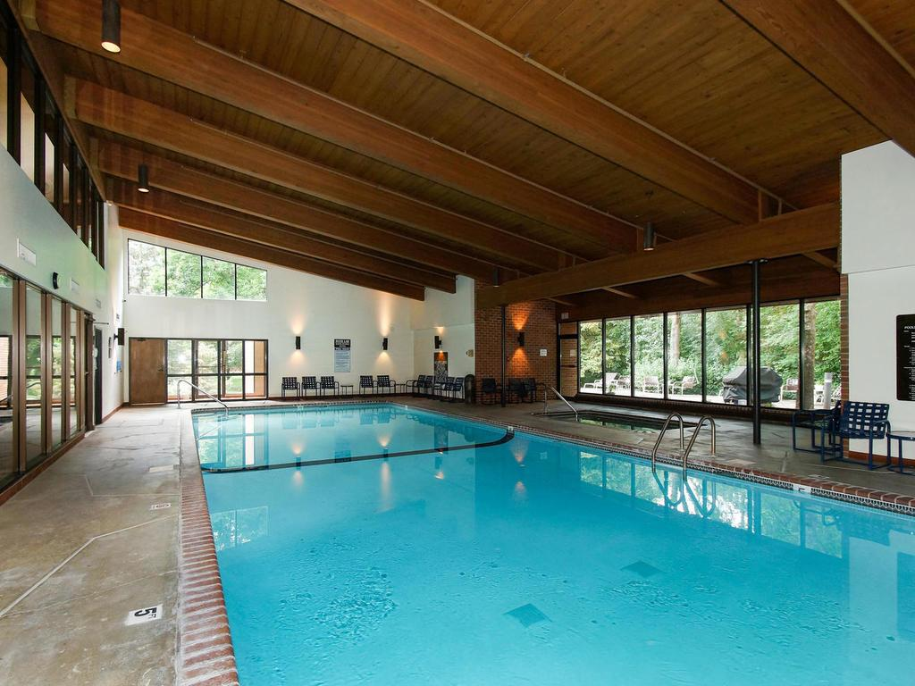 Get your exercise in the heated pool, and relax in the whirlpool.  Your family members will love it too! There's also a sauna and exercise room.