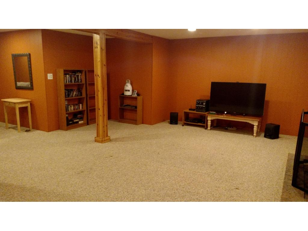 Large finished lower level family room with higher ceilings