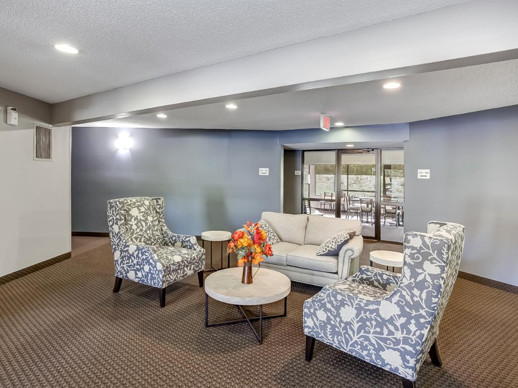 Building 7401 main lobby space. The building also includes a party room for resident use!