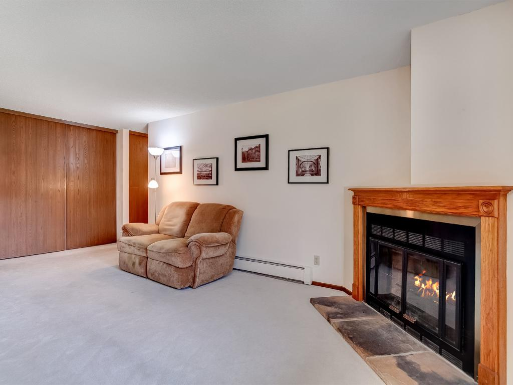 Woodburning fireplace in living room!