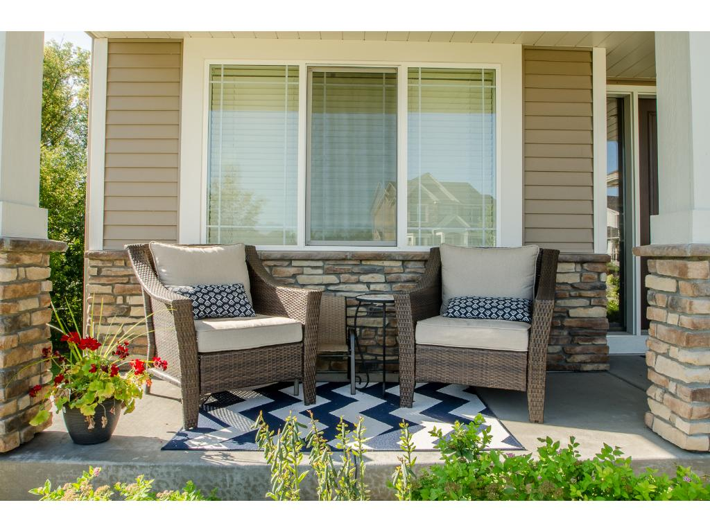 The delightful front porch is a great place to sip your morning coffee...