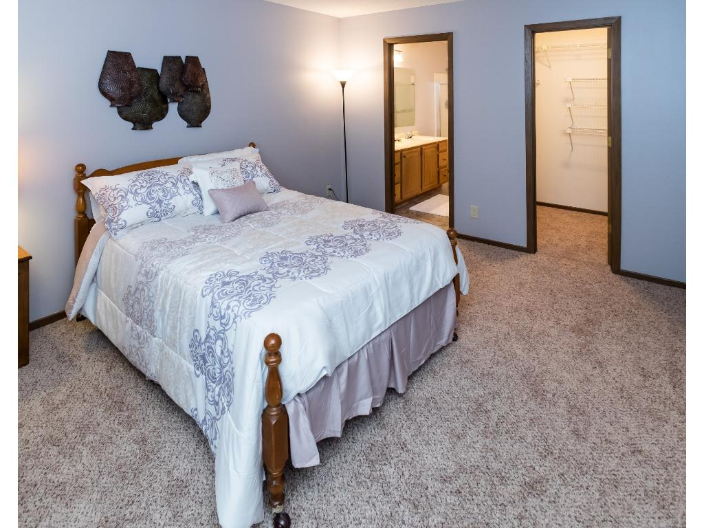 Large master bedroom with a walk in closet and master bathroom.