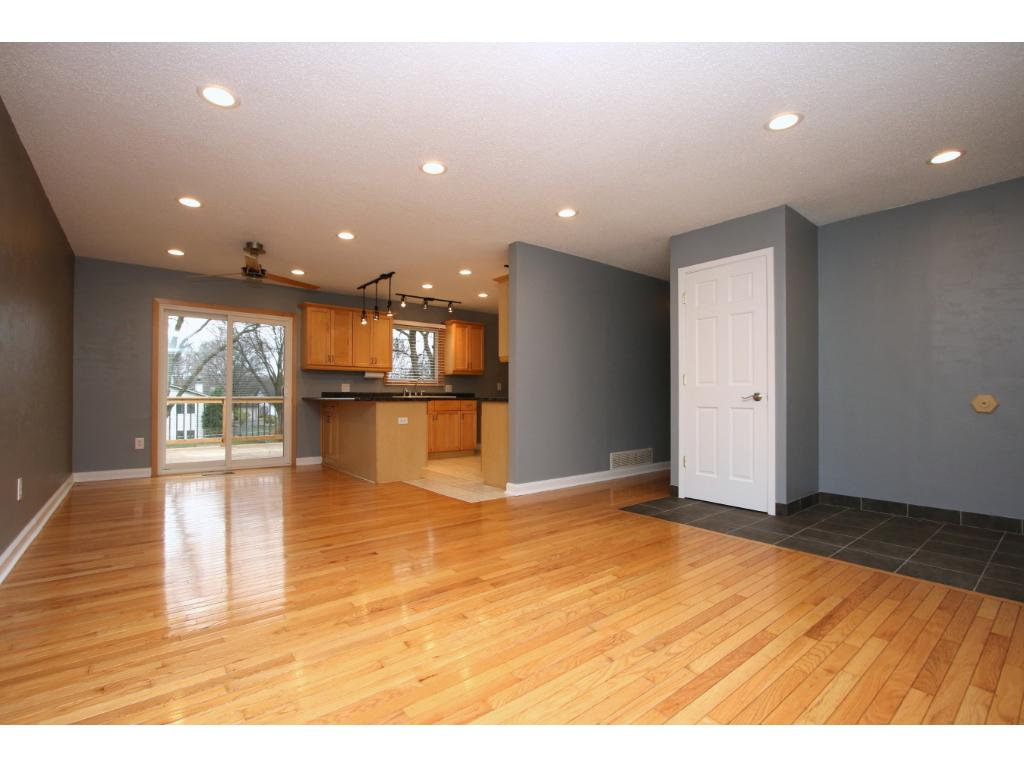 Real hard wood floors and an open floor plan.