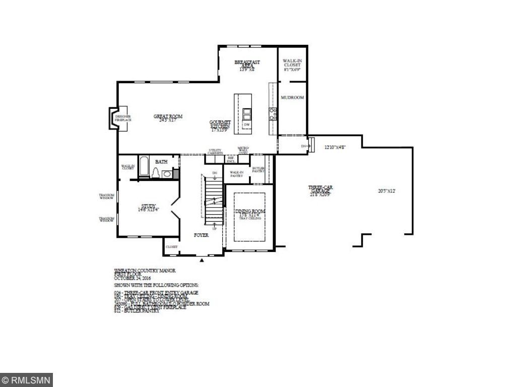 Main floor featuring a large great room, breakfast area with a gourmet kitchen and walk in pantry. Formal dining room with a study and walk in closet.