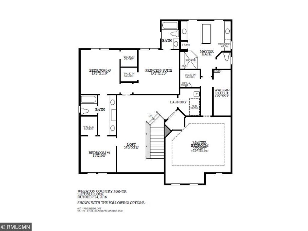 Second floor featuring a large master suite with a spa-like bath and oversized shower, large walk in closets and a master sitting area. Loft off of the staircase with a jack and jill bath for two bedrooms and princess suite.