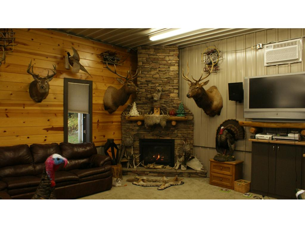 View of fireplace and in the mans getaway