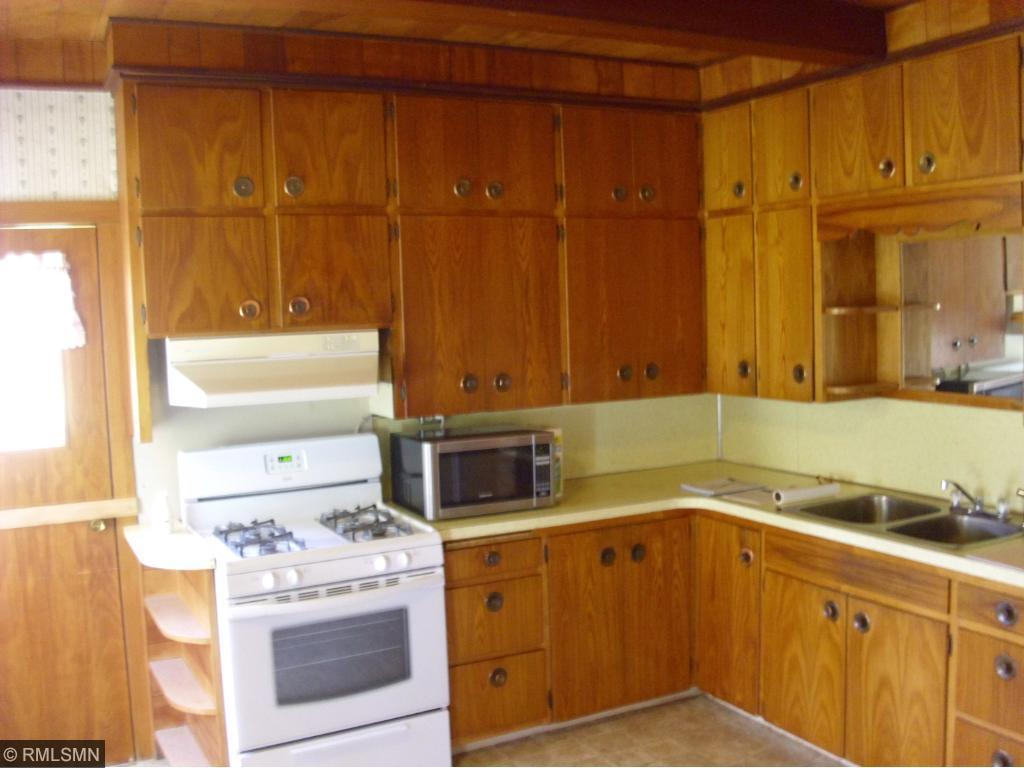 Lots of cabinets for storage.