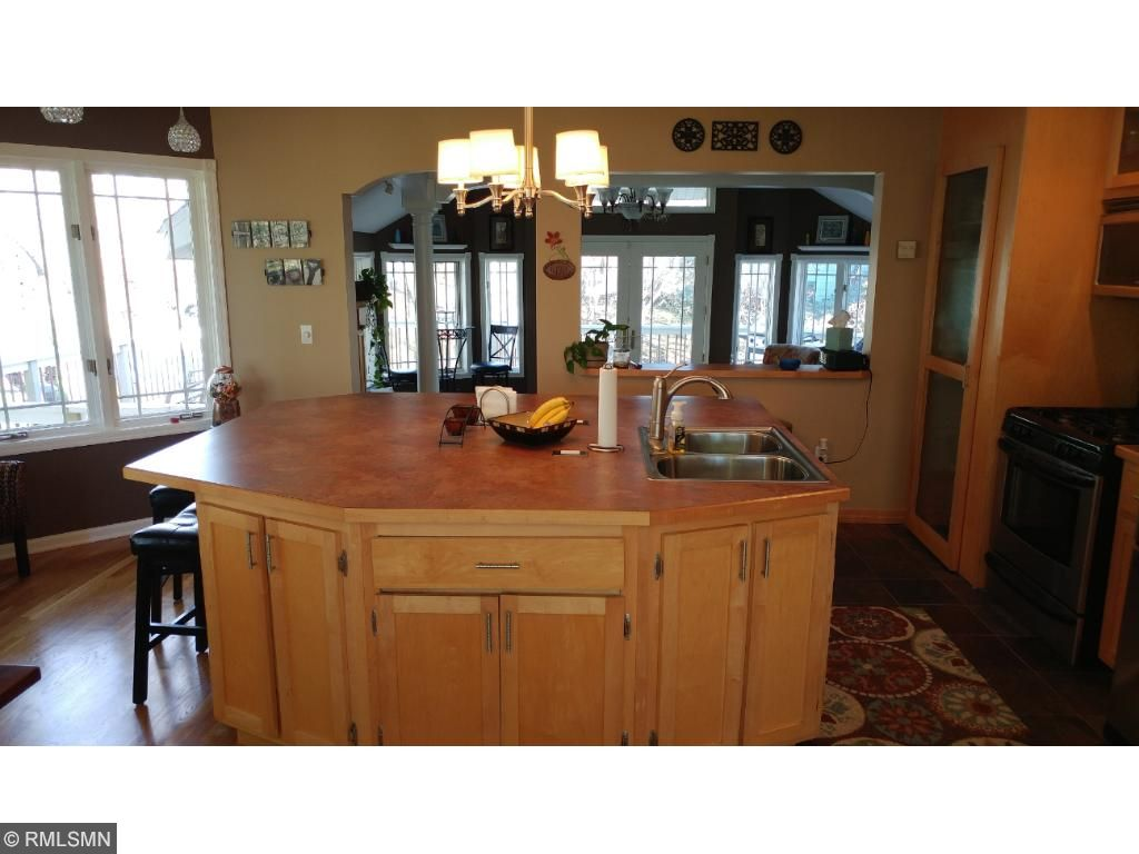 Many family and friends will be able to gather around this huge kitchen island.