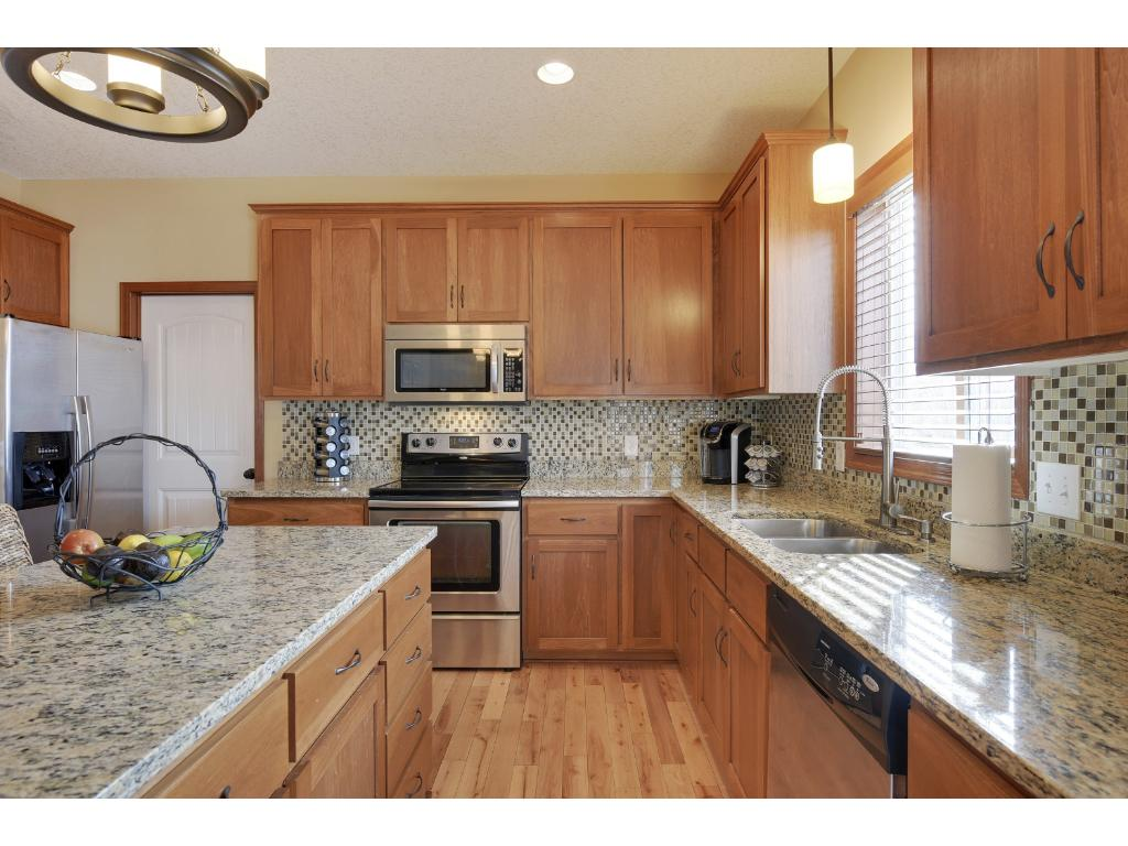 Granite countertops, stainless steal appliances, and large center island.