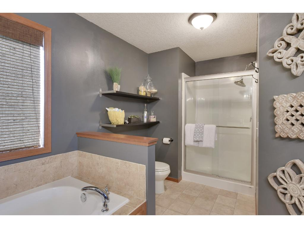 Large walk-in shower and built-in shelves.