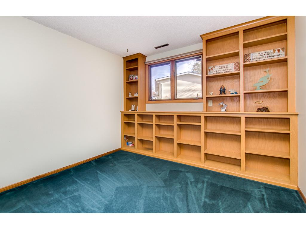 Lower level office with custom cabinetry