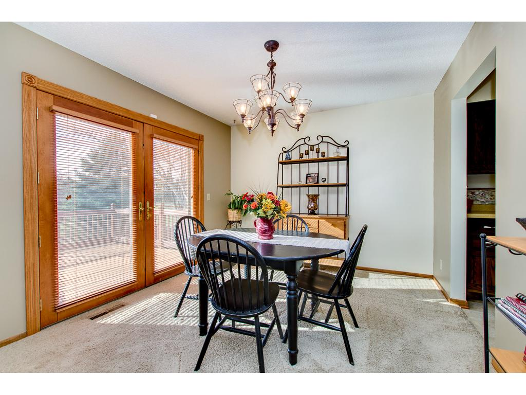 Dining area with French doors to deck.