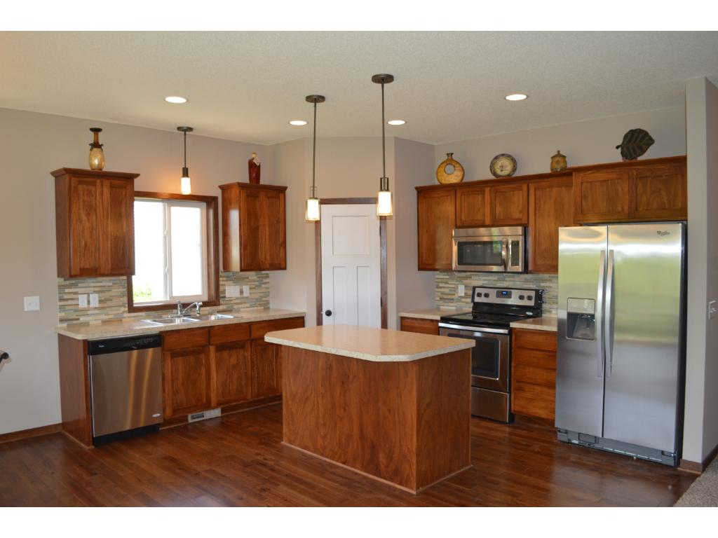 Large open kitchen with pantry and center island