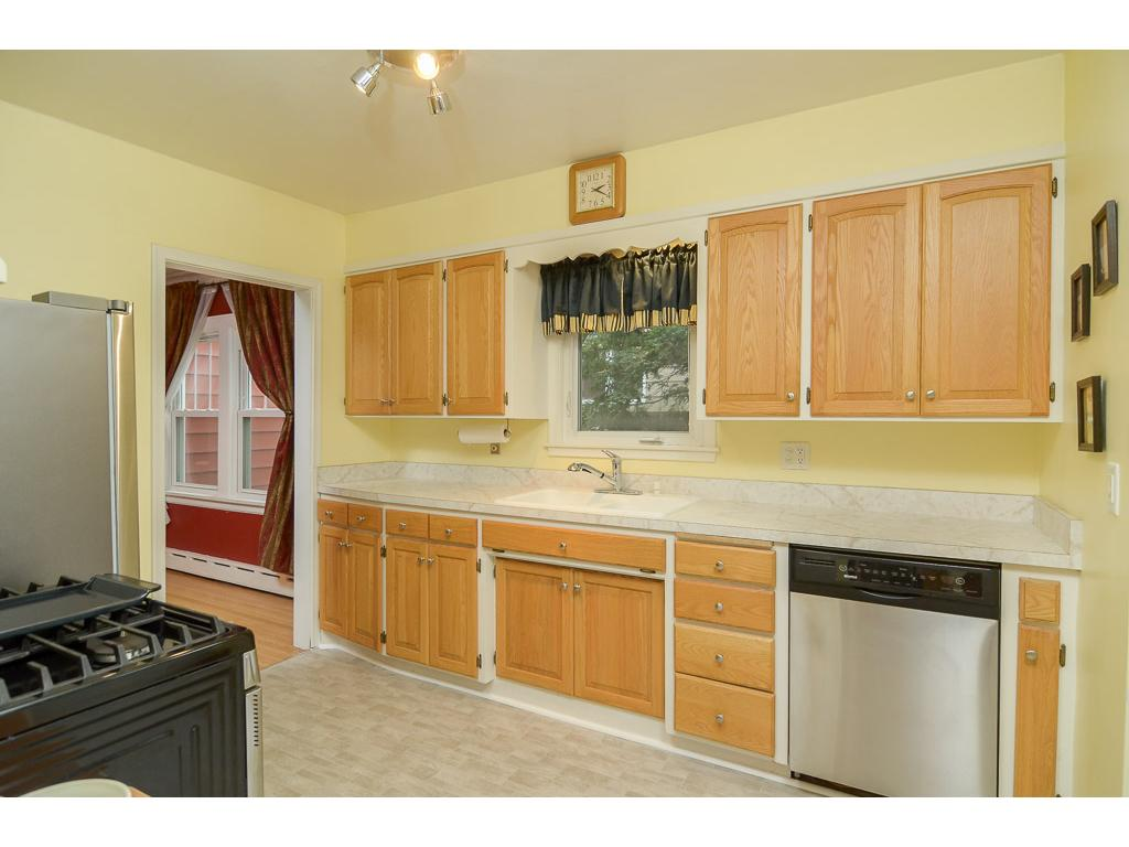 Galley style kitchen with enough space for all of your dishes and gadgets.