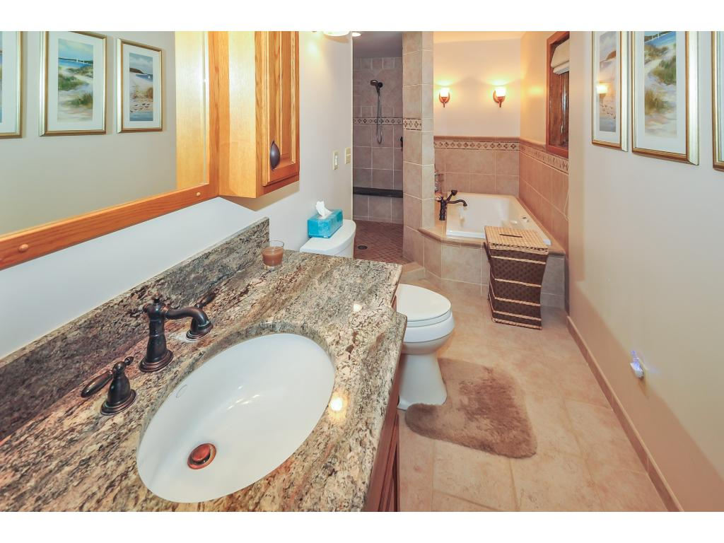 The upstairs bathroom has a HUGE walk in, custom tile shower as well as a big jetted tub and granite counter top.