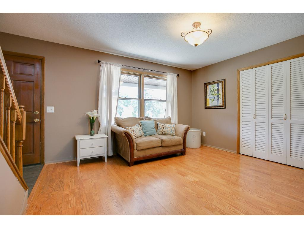 Beautiful hardwood floors are found in the living room and kitchen.