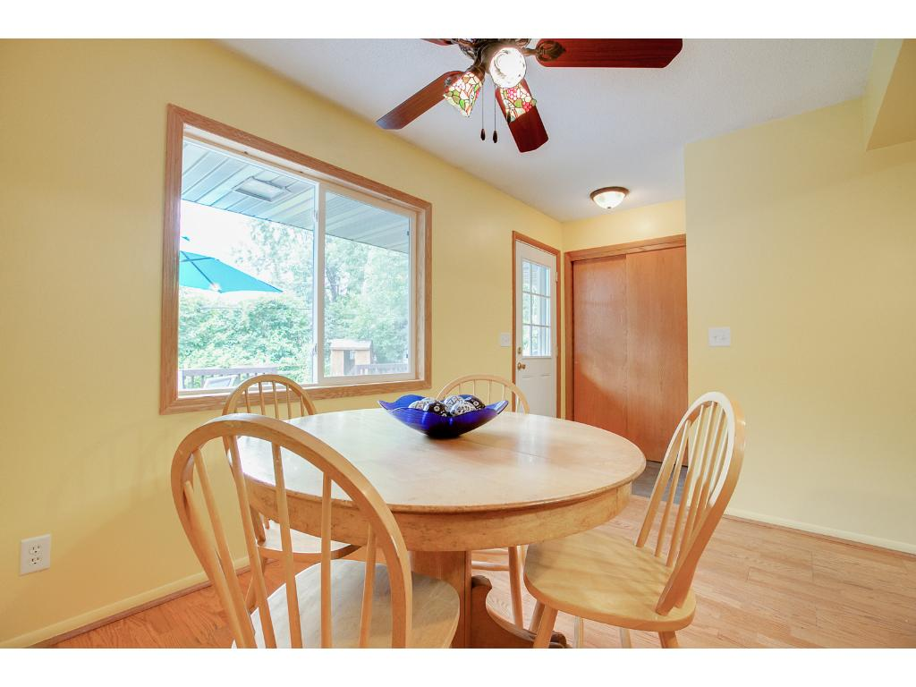 Eat in kitchen/dining room gives lovely views of the private backyard.