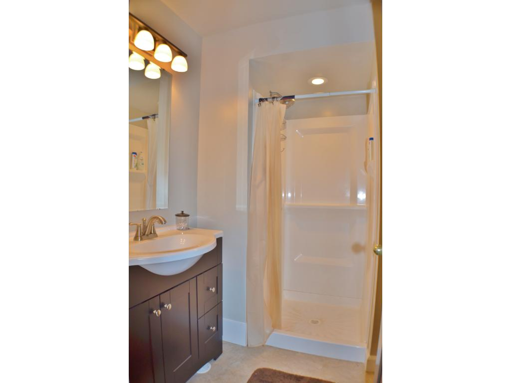 Lower level bathroom with walk in shower.