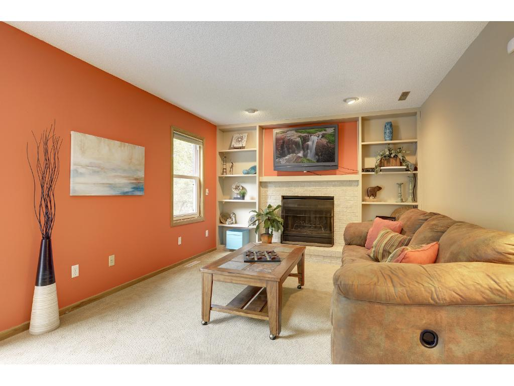 Lower level family room with wood burning stone fireplace and built-ins.