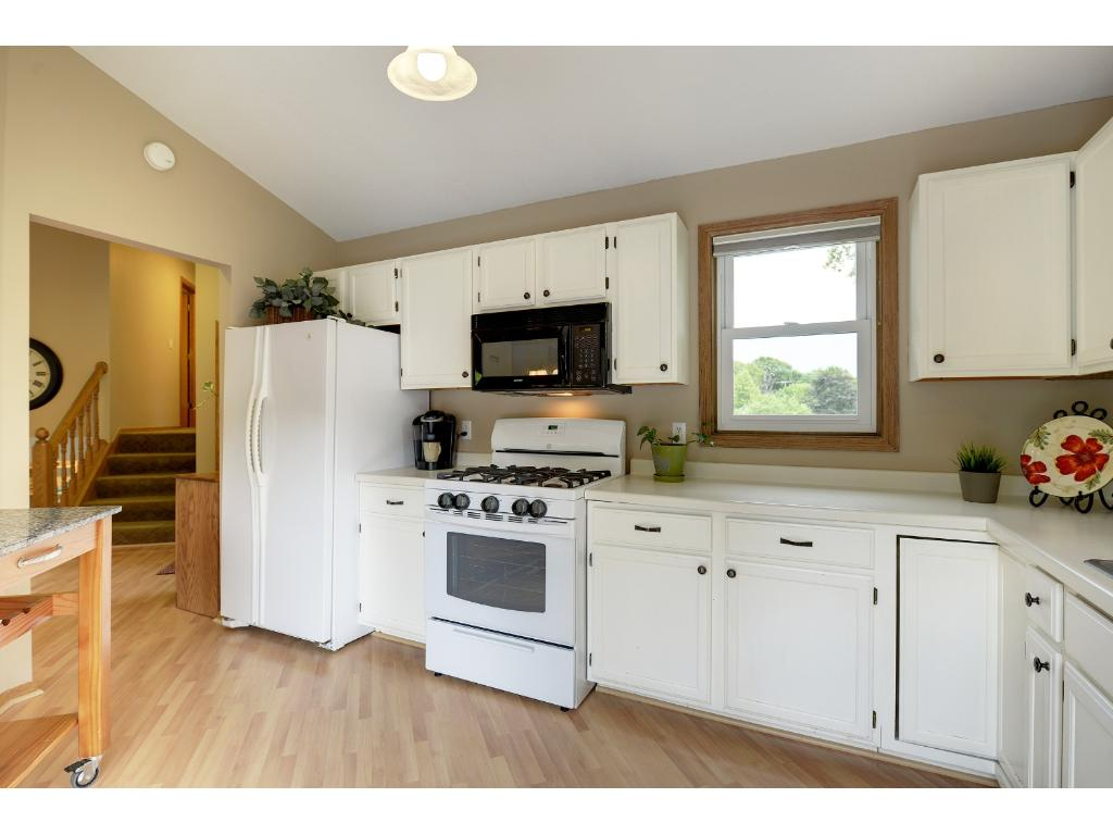 Spacious kitchen overlooks the living and dining rooms.