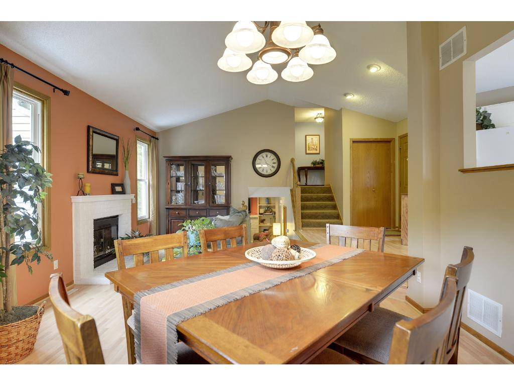 Main level great room with vaulted ceilings - a great space for entertaining!