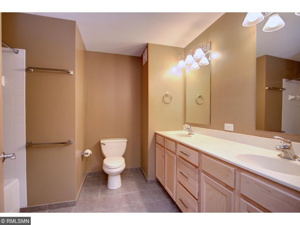 Spacious bathroom with dual vanities