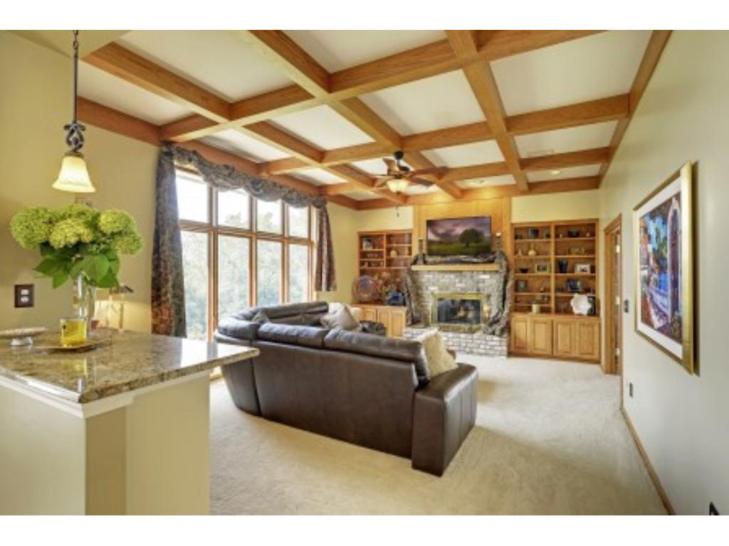 Family Room has a granite counter top used for serving while dining or in casual setting in the Family Room.