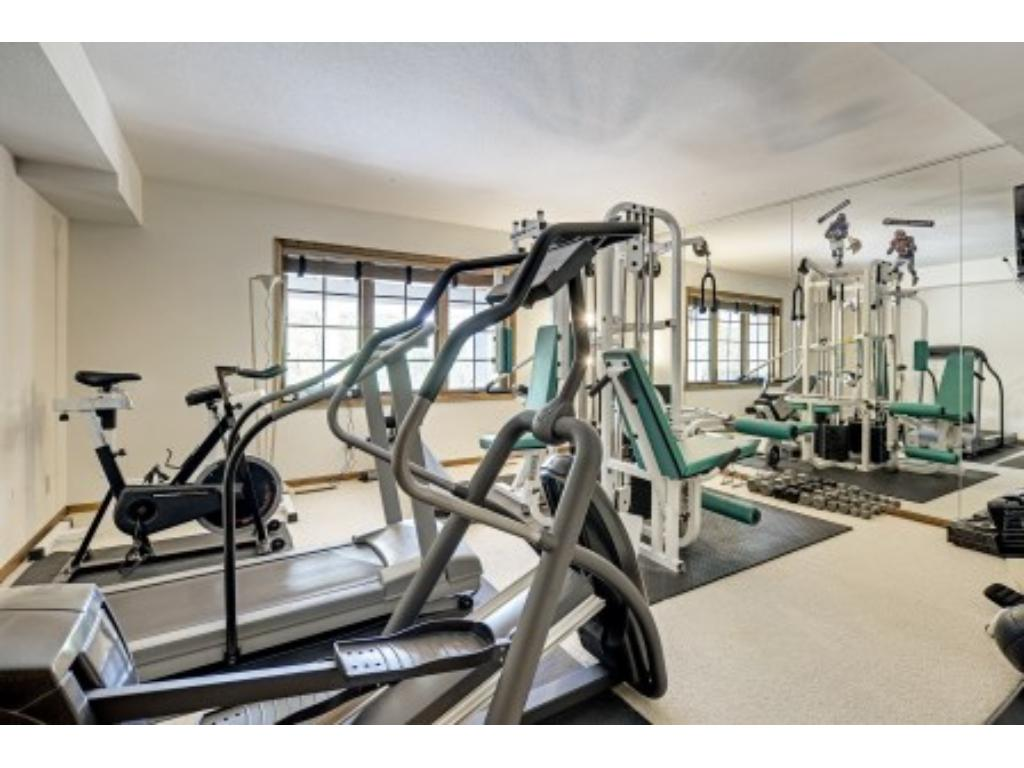 Exercise Room with Mirrored Wall.