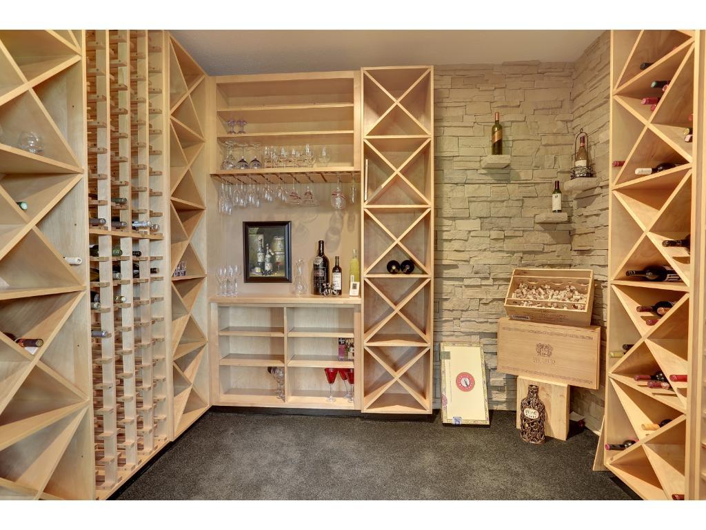 Sensational lower level wine room!