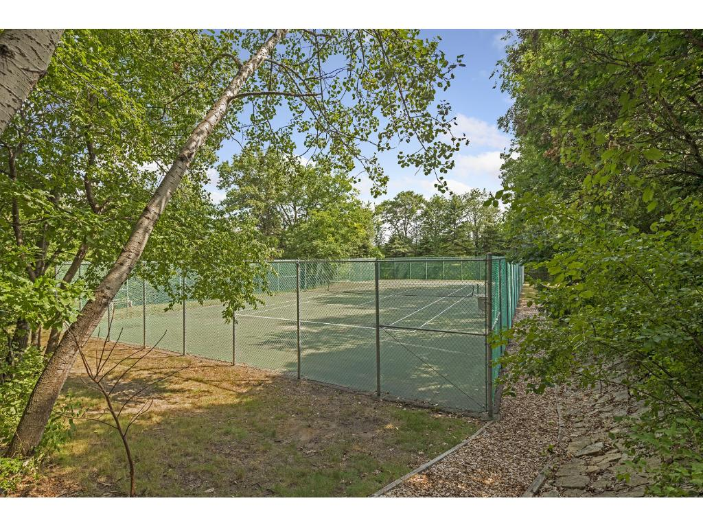 Regulation Tennis Court surrounded by woods.  119' x 59'.