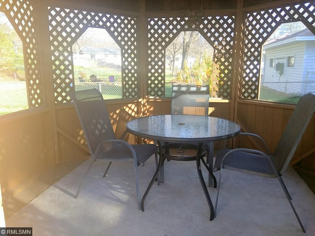 12 foot gazeebo, with screens. Great for year round gatherings.