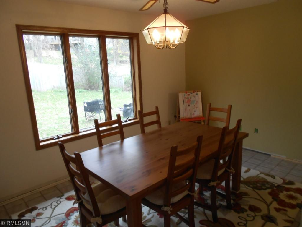 Formal dining room with view of back yard.