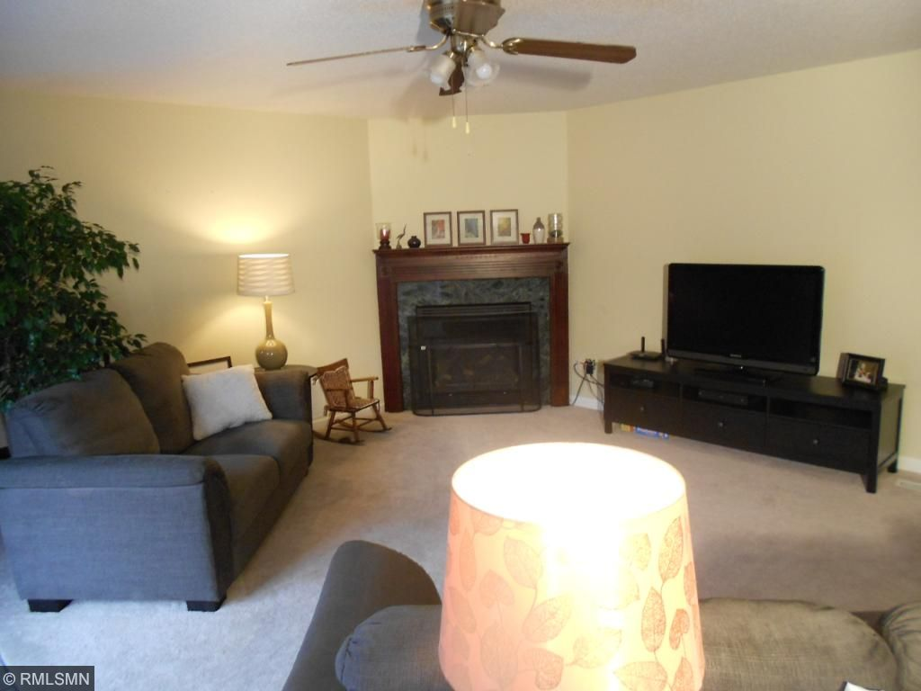 Main level family room with gas fireplace.