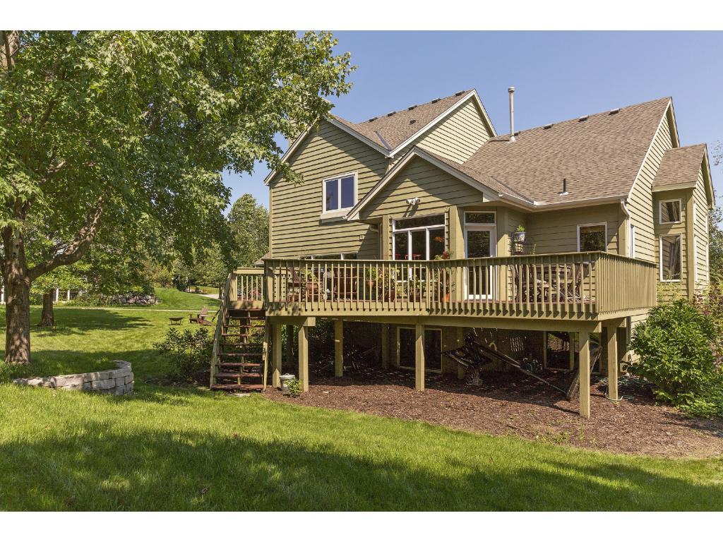 Beautiful deck overlooking wooded backyard
