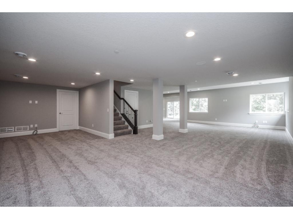 Huge finished Walk out basement-Gas fireplace rough-in and bar rough-in, ready to go for your design.