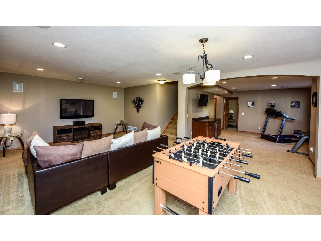 Large lower level cozy family room.