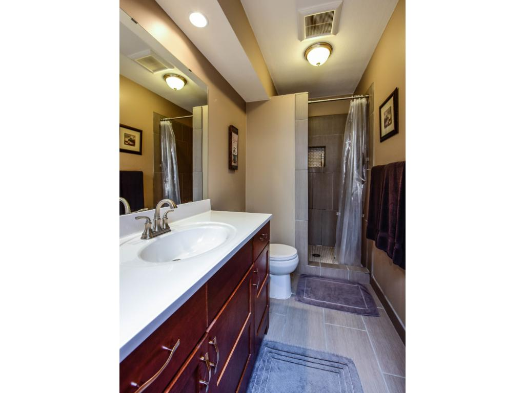 Lower level 3/4 bath with tile shower.