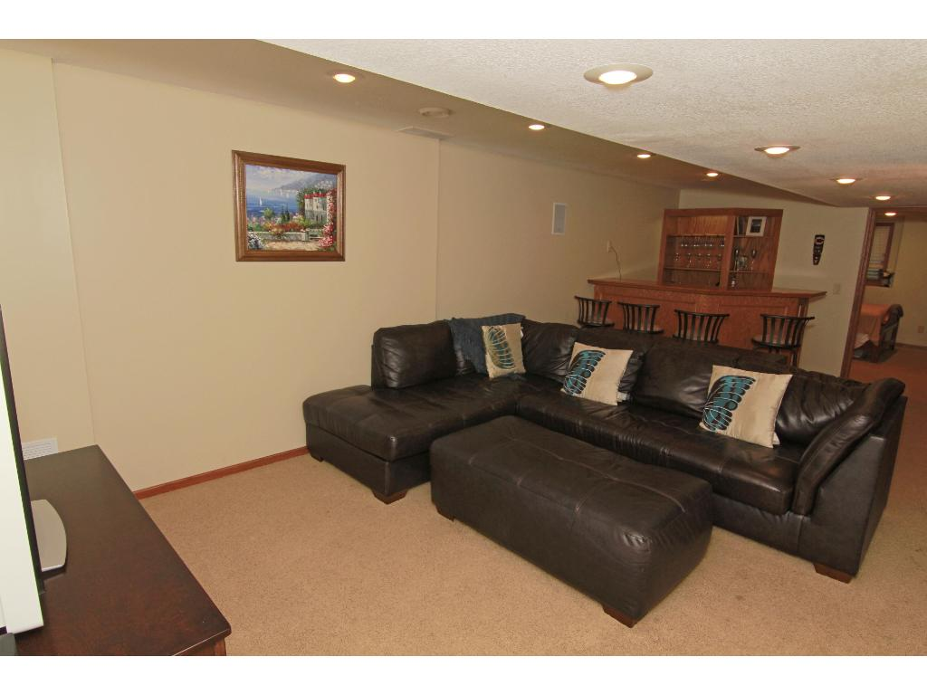 Spacious lower level amusement room great for home theater, pool or ping pong tables or just hanging out.