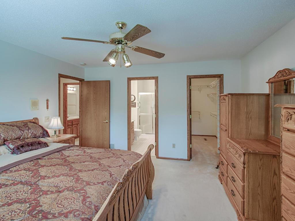 Master bedroom with attached 3/4 bath and huge walk-in closet