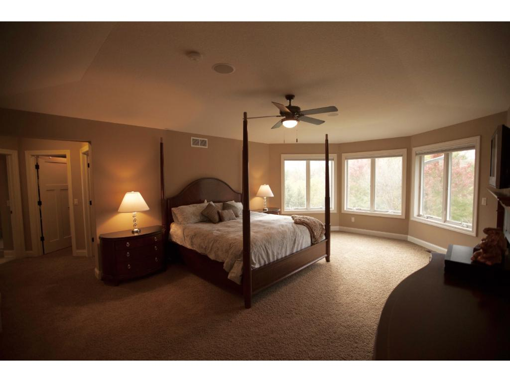 Master Suite with tray vaulted ceiling, fireplace and his & hers walk-in closets.