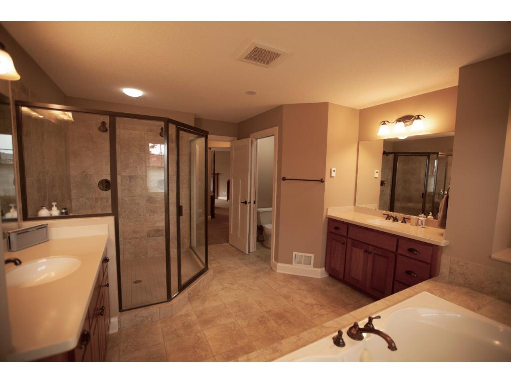 Large master bath with separate whirlpool tub and shower.