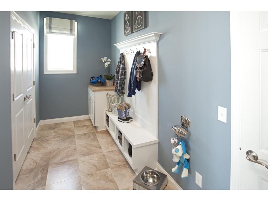 Photo of a Model Home. Mudroom