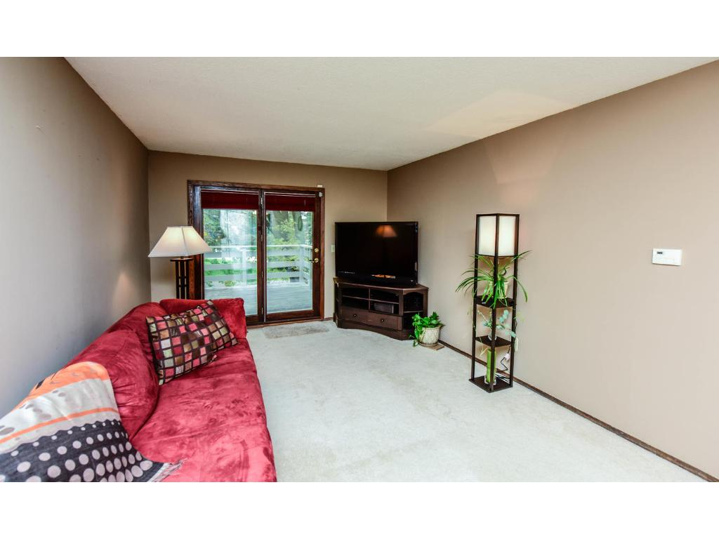 Spacious living room area with newer carpeting and paint!