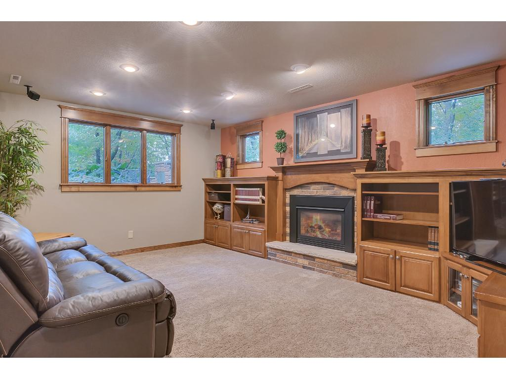 Beautiful family room with custom clear maple built ins and gas fireplace.