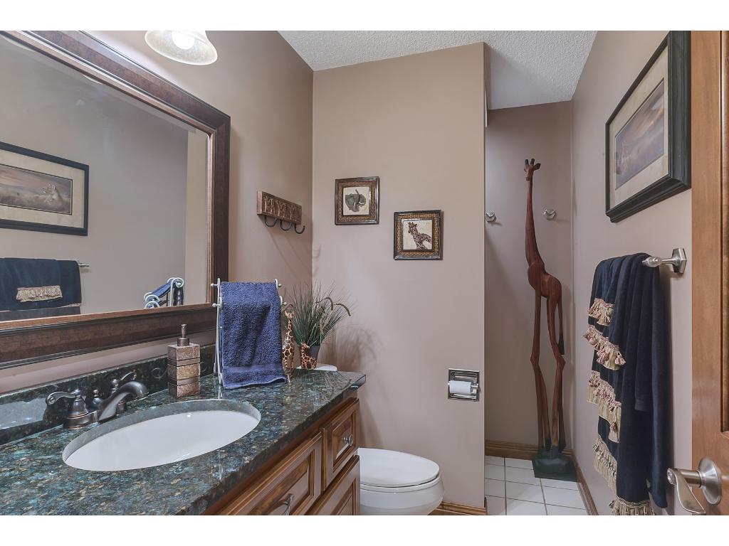 Lower level bath with granite vanity.