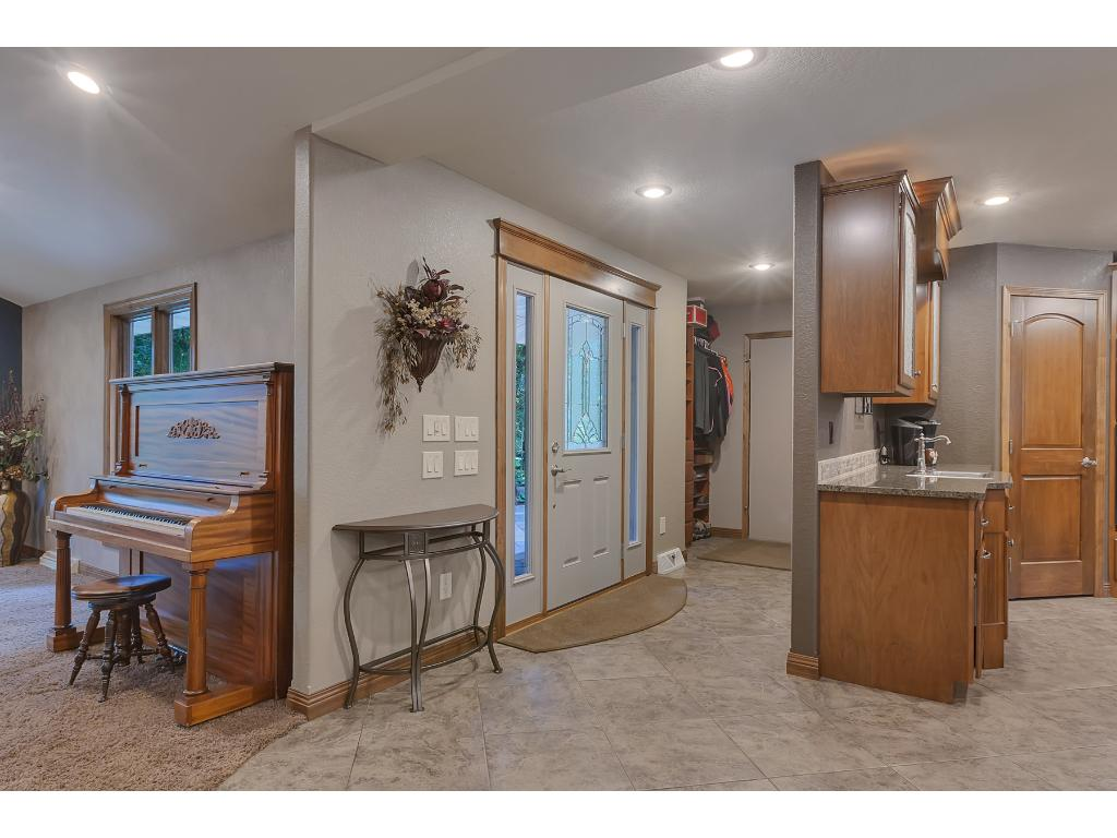 Large entry with built in storage.